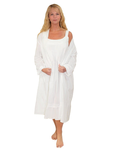 La Cera White Cotton Nightgown and Robe Set La Cera