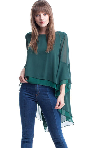 Layered Chiffon High Low Top with Tie Back Symphony
