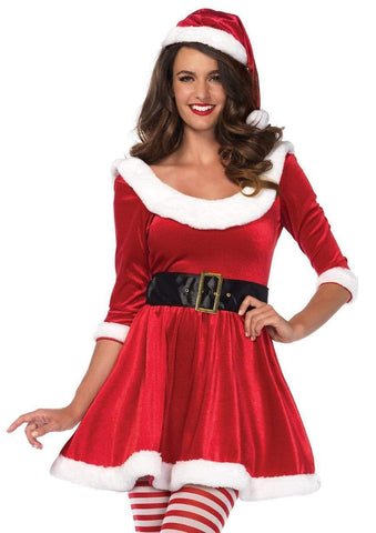Mrs. Santa Red and White Velvet Dress Costume Leg Avenue