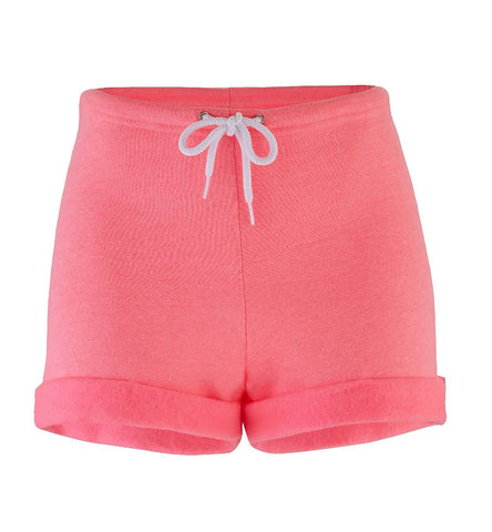 Neon Pink Heather Fleece Cuff Shorts Nyteez