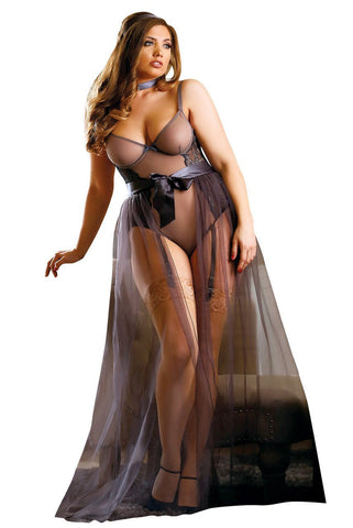 Nicole Teddy Lingerie with Sheer Sabrina Maxi Skirt Set Fantasy Lingerie