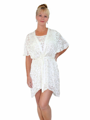 Nyteez Luxury Silk Burnout Short Nightgown and Robe Peignoir Set Nyteez