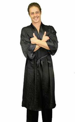 Nyteez Men's 100% Mulberry Silk Bathrobe 48 Inches Long Nyteez