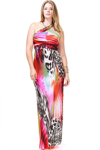 Nyteez Plus Size Twisted Halter Tropical Maxi Dress Nyteez