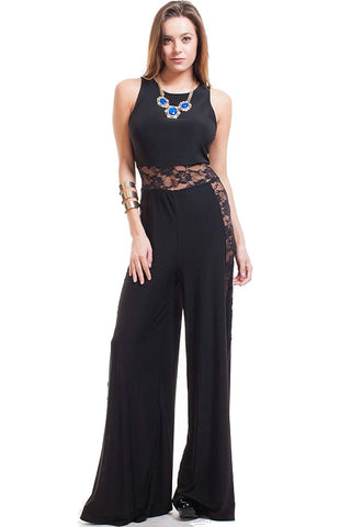 Nyteez Women's Black Wide Leg Jumpsuit with Lace Panels Nyteez