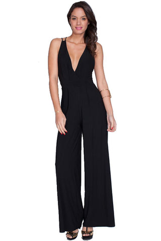 Nyteez Women's Jumpsuit V-Neck, Sleeveless, Strappy Low Back Nyteez