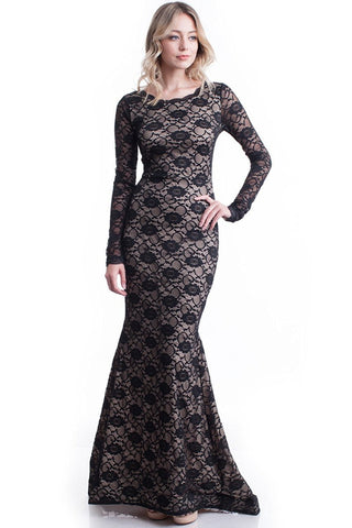 Nyteez Women's Long Black Lace Mermaid Gown Maxi Dress Symphony