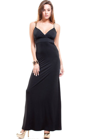 Nyteez Women's Long Black Maxi Dress with Gold Chain Straps Nyteez
