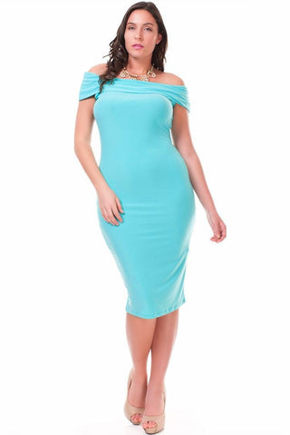 Nyteez Women's Plus Size Dress Off Shoulder Bodycon Symphony