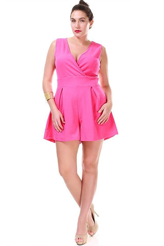 Nyteez Women's Plus Size Pleated Romper Short Jumpsuit Symphony