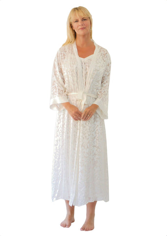 Nyteez Women's Stunning Silk Burnout Long Nightgown and Robe Peignoir Set Nyteez