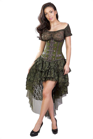 Ophelie High Low Layered Steampunk Gypsy Skirt Burleska