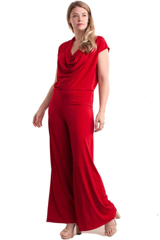 Plus Size Cap Sleeve Cowl Neck Wide Leg Jumpsuit Nyteez