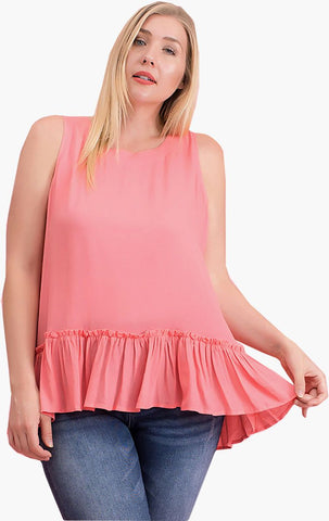 Plus Size Pink Sleeveless Ruffle Hem Summer Top Symphony
