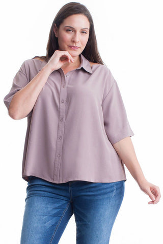 Plus Size Silk Blend Short Sleeved Shirt Symphony
