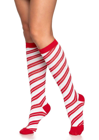 Red Candy Cane Lurex Striped Knee Socks Leg Avenue