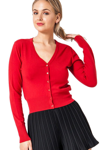 Retro Style Cardigan V-Neck Long Sleeved Button Front HYFVE