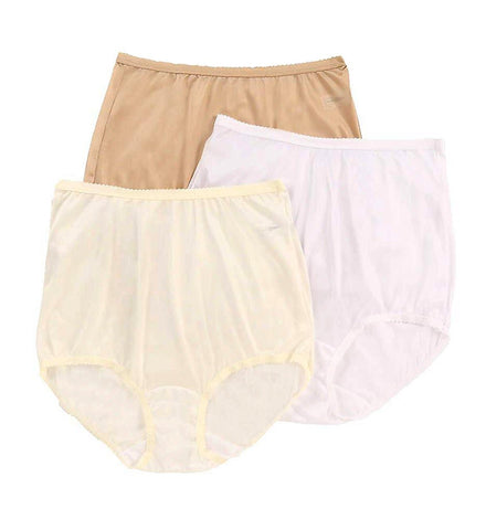 Shadowline Women's Nylon Full Brief Panty 3-Pack Assorted Shadowline