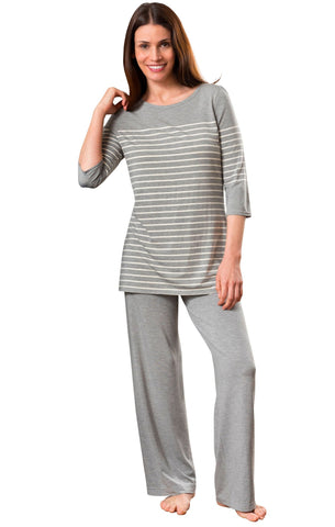 Shadowline Women's Striped Pajama Before Bed Modal Lounge Set Shadowline