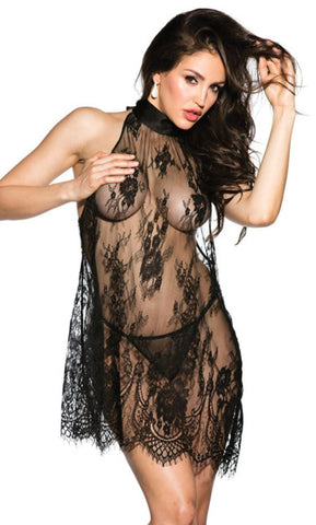 Sheer Black Lace Halter Style Short Nightgown Chemise Shirley of Hollywood