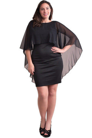 Short Black Dress with Attached Chiffon Cape Plus Size Symphony