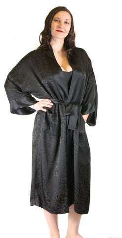 "Silk Jacquard Robe Dressing Gown Long 48"" Nyteez"