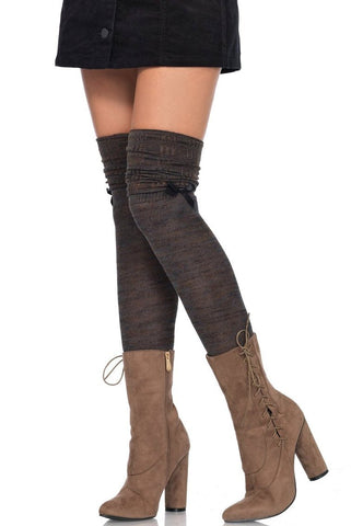 Thigh High Socks Marled Knit Brown Olive Leg Avenue