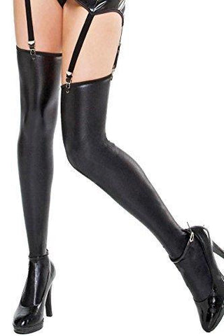 Wet Rubber Look Thigh High Stockings Coquette