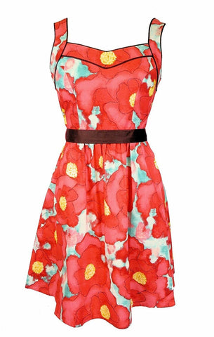 Women's 1950's Vintage Retro Style Dress in Poppy Floral Folter Clothing