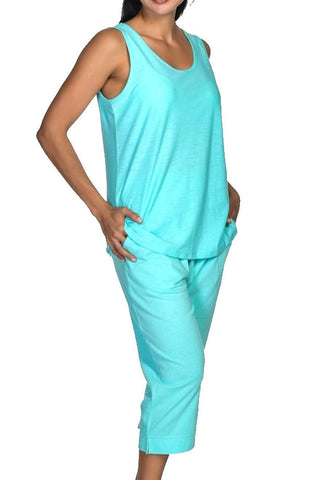 Women's Aqua Blue Tank Top and Capri Pant Lounge Pajama Set Nyteez