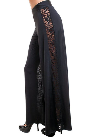 Women's Black High Waist Wide Leg Palazzo Pants with Lace Sides Symphony