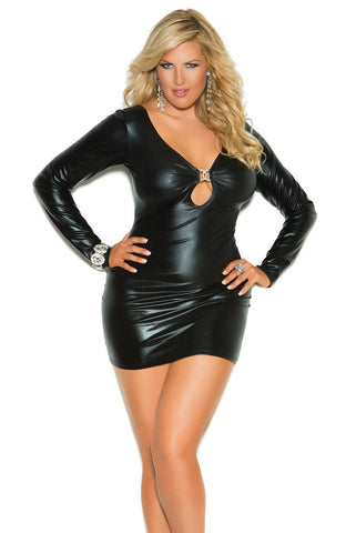 Women's Black Leather Look Long Sleeved Micro Mini Dress Elegant Moments