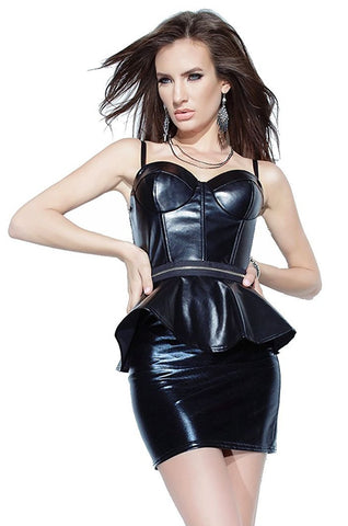 Women's Black Leather Look Peplum Bustier and Mini Skirt Set Coquette