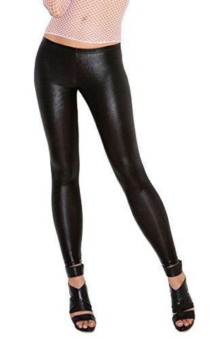 Women's Black Leggings Wet Rubber Leather Look Elegant Moments