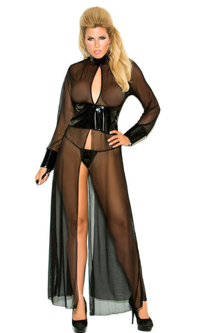 Women's Black Long PVC and Sheer Mesh Diva Gown Elegant Moments