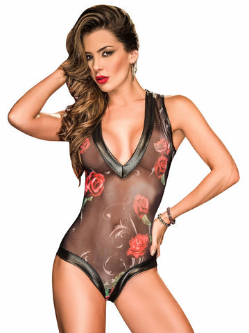 Women's Black Rose Mesh Teddy Bodysuit Lingerie Mapale