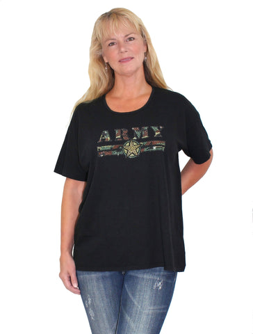 Women's Black US Army Rhinestone Boyfriend T-shirt NYteez