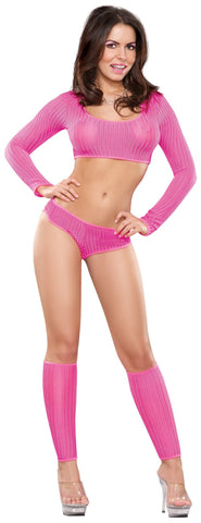 Women's Booty Short, Crop Top and Leg Warmer Set Magic Silk