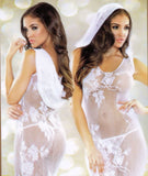 Women's Bridal White Floral Lace Long Nightgown Nyteez