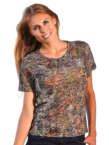 Women's Camouflage Burnout Short Sleeve Tee Shirt Wilderness Dreams