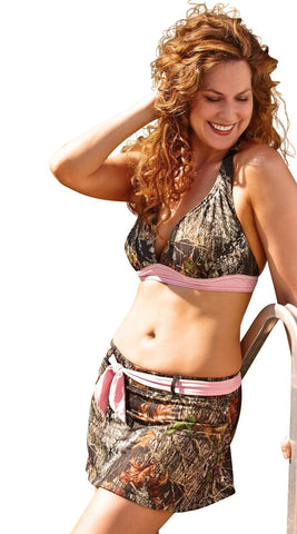 Women's Camouflage with Pink Trim Belted Swim Skirt and Top Set Wilderness Dreams