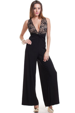 Women's Lace Top Black Wide Leg Jumpsuit Nyteez