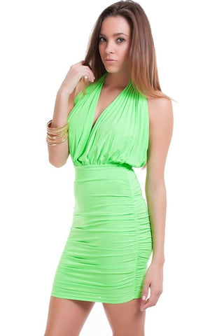 Women's Lime Green Halter Style Ruched Mini Dress Nyteez