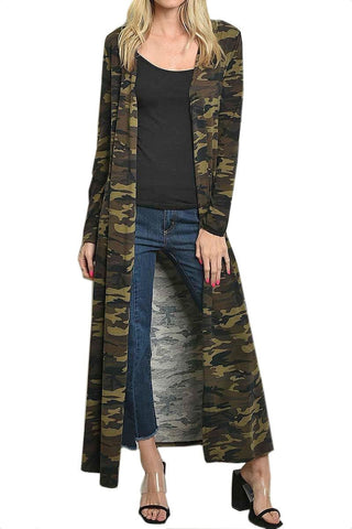 Women's Long Camouflage Cardigan Duster Kimono Robe 11 Degrees
