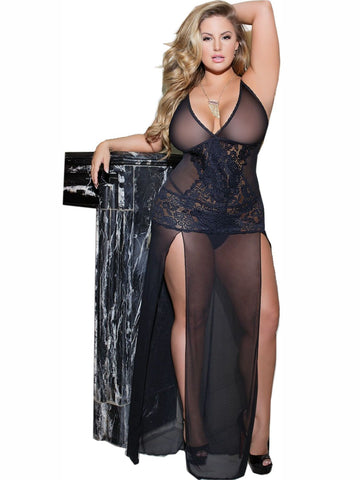Women's Long Sheer Black Mesh and Lace Nightgown with Double Leg Slits Coquette