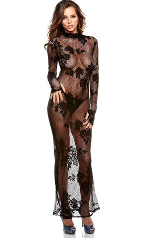 Women's Long Sheer Black Stretch Lace Nightgown Fantasy Lingerie