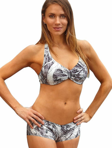 Women's Naked North White Camouflage Boy Short Swim Suit Set Wilderness Dreams