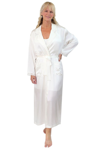 Women's Natural Mulberry Silk Bathrobe with Lace Trim Nyteez