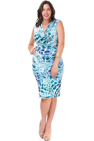 Women's Plus Size Aqua Splash Summer Dress Nyteez