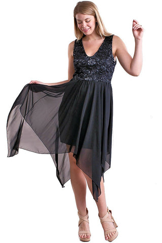 Women's Plus Size Black Party Dress with Chiffon Skirt Symphony